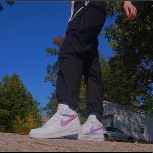 Pink and purple Nike Air Force 1 mids